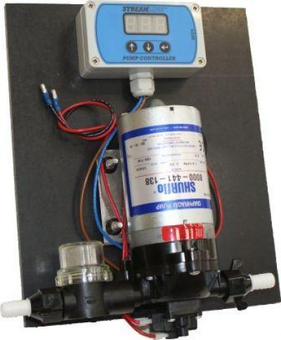 Pump and controller mounted on a board, includes prefilter and hose tails