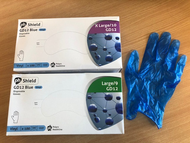 Disposable Blue Vinyl Gloves lightly powdered Latex free box of 100